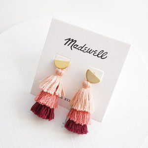 Madewell Tiered Tassel Earrings in Peach Blush